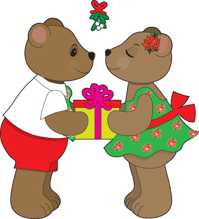 A teddy bear couple about to kiss under some mistletoe Vector