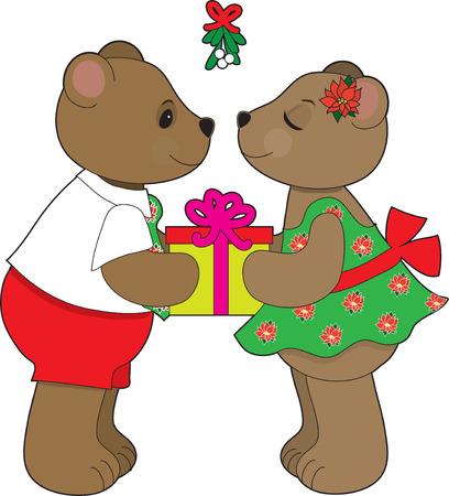 A teddy bear couple about to kiss under some mistletoe 向量圖像