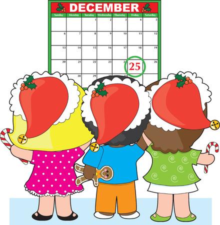 week: Three children standing in front  of a December calendar.