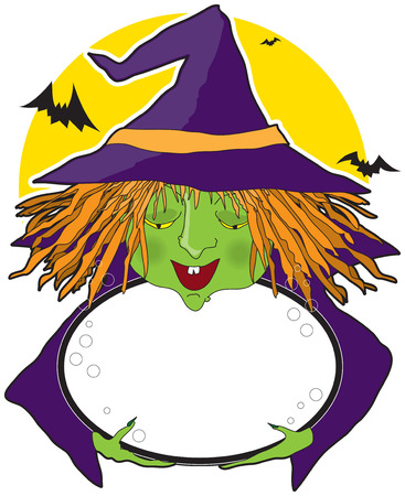 bubbling: A witch holding a cauldron with space for text