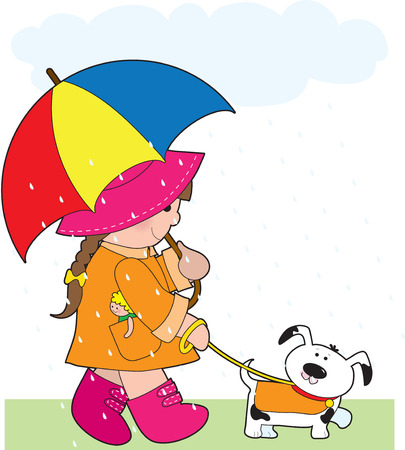 A little girl walking her dog in the rain and holding an umbrella Vectores