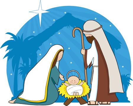 betlehem: Eine Krippe mit dem Stern von Bethlehem im Hintergrund Illustration