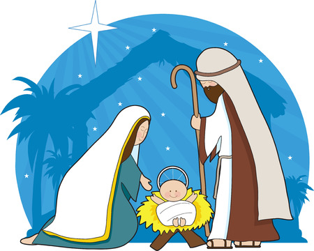 A nativity scene with the star of Bethlehem in the background