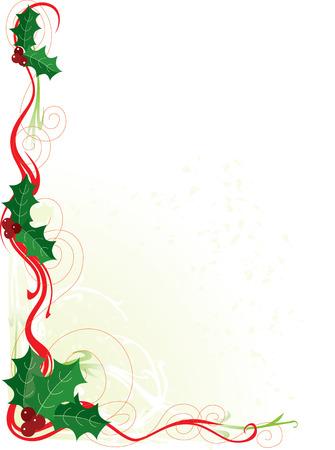 hulst: Een rand of frame met Kerstmis holly en rollen Stock Illustratie