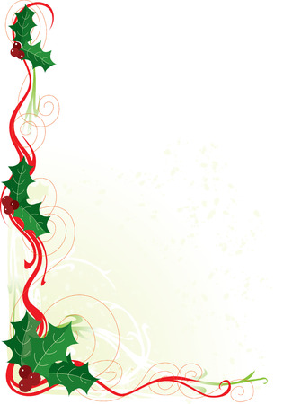 A border or frame with Christmas holly and scrolls Vectores