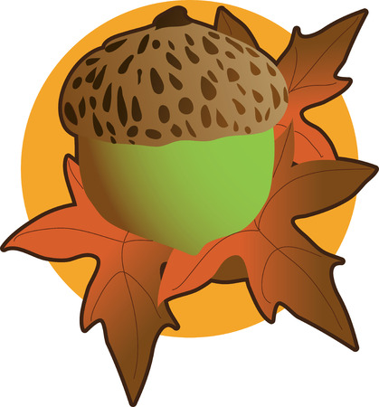 An acorn and autumn leaves on an orange circle background