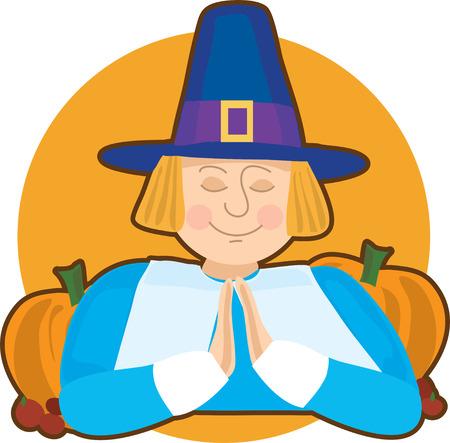 quaker: A pilgrim praying on an orange circle background