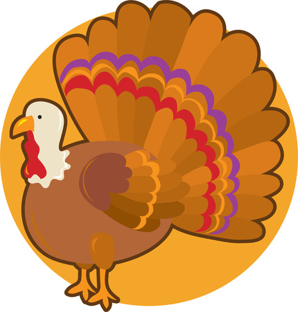 A turkey standing with it's tail spread out on an orange circle background