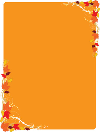 A frame with autumn leaf  motifs in the corners Vector