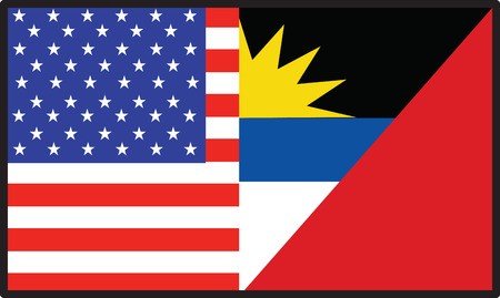 carribean: Una bandera que es mitad americana y mitad Barbuda Antigua