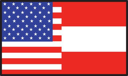 A flag thats half American and half Austrian Çizim