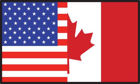 アメリカ人と半分のカナダの旗
