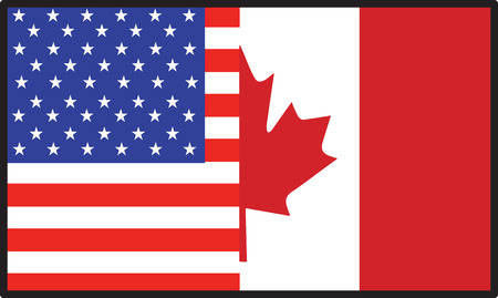 A flag that's half American and half  Canadian
