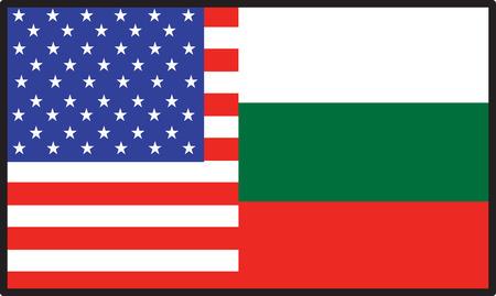 A flag that's half American and half  Bulgaria 向量圖像