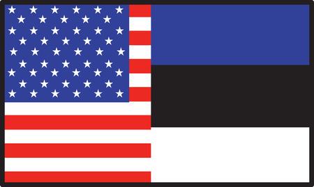 アメリカ人と半分エストニアの旗  イラスト・ベクター素材