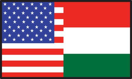 A flag thats half American and half  Hungary Иллюстрация