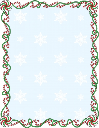 holiday background: A border or frame with candy canes and ribbons