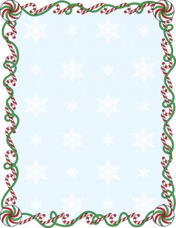 Een rand of een frame met kandij alpenstokken en linten Stock Illustratie