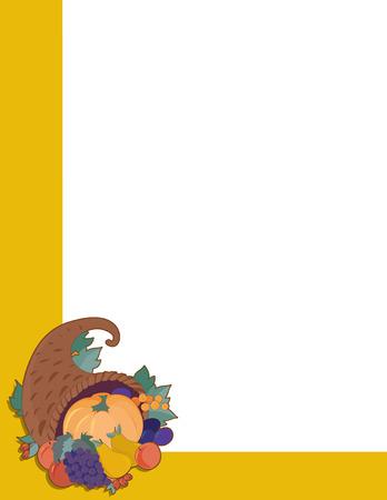 cornucopia: A frame  or border of a cornucopia filled with fall fruits