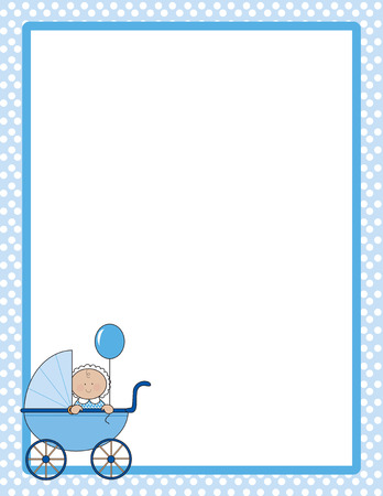 Polka dot border with baby boy in a carriage in one corner Vector