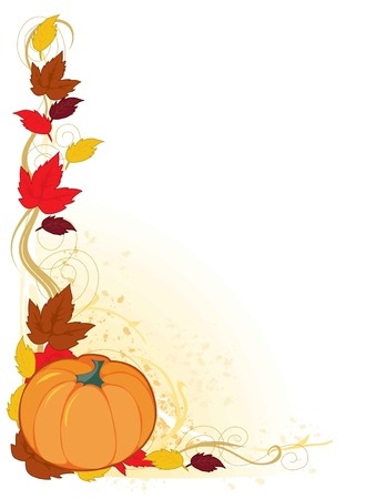 A frame with autumn leaf and a pumpkin in the corner Vectores