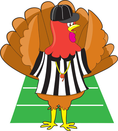 A turkey dressed as a referee at a football game signaling a touch down Illustration