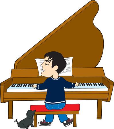 그의 개 노래와 함께 피아노를 연주 젊은 남자