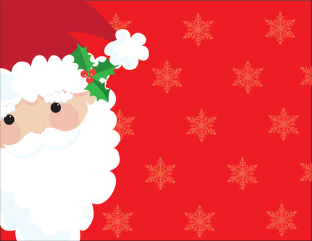 holiday background: Santas head on a red background with subtle snowflakes