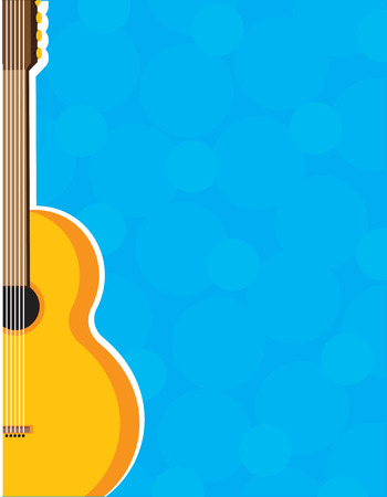 A border or frame with a guitar on the left side  Vector