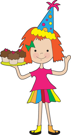 A little girl holds a tray full of cupcakes and wears a party hat Vector