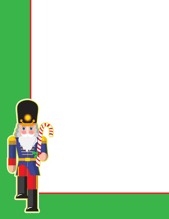 nutcracker: A border or frame featuring a toy soldier in the bottom left corner Illustration