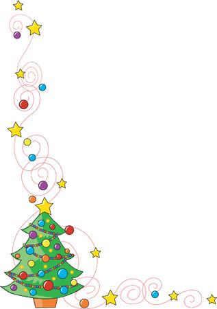Een rand of een frame met een kerstboom op de bodem verlaten hoek