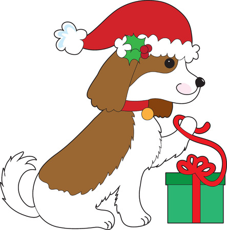 A Cavalier King Charles Spaniel is opening a Christmas present Stock Vector - 6001859