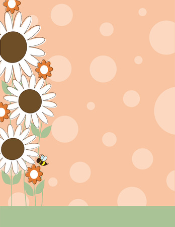 bee on flower: A border or frame with large white daisies and polka dots