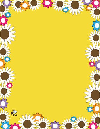 A border or frame with large white daisies and smaller daisies Vector