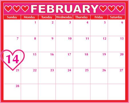 calendar: A February calendar showing the 14th prominently