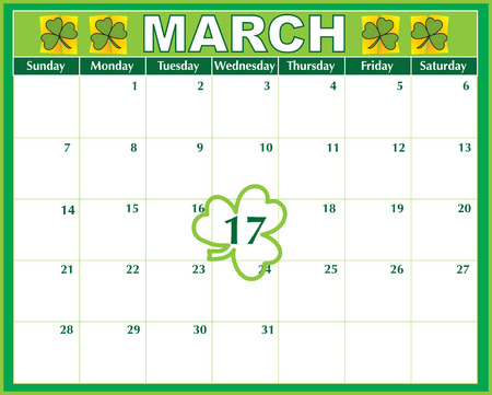 A March calendar showing the St. Patricks Day marked prominently