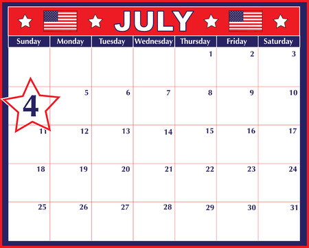 A July calendar showing the 4th prominently Vector