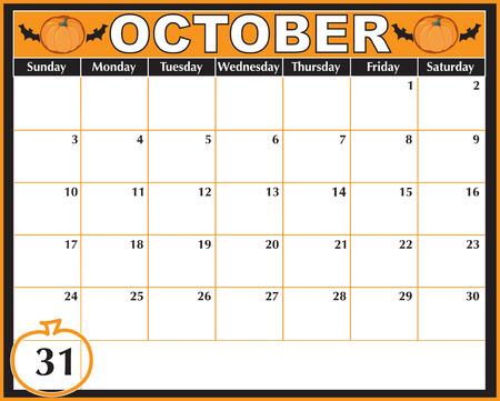 dates fruit: Un calendario de octubre mostrando el 31 en un lugar destacado