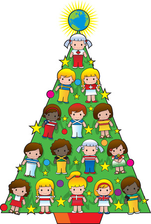 A Christmas tree with children from different countries and a globe star as decorations