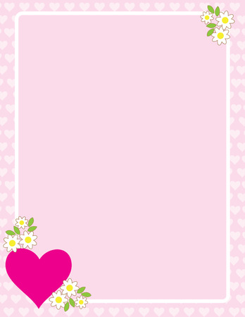 A frame or border featuring a heart and apple blossoms Stock Vector - 6109721