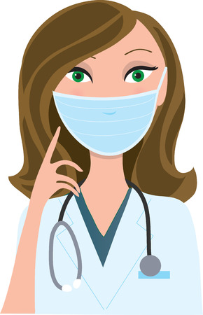 protective: A young woman wearing a medical mask and pointing to it with her finger