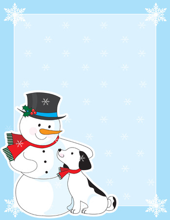 A border or frame featuring a snowman and his dog in the bottom left corner Ilustrace