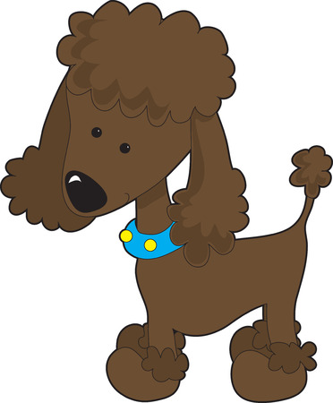A brown cartoon poodle isolated on a white background 向量圖像