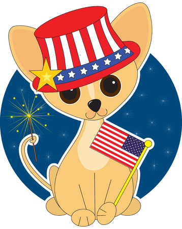 Chihuahua  dressed for the Fourth of July Vector