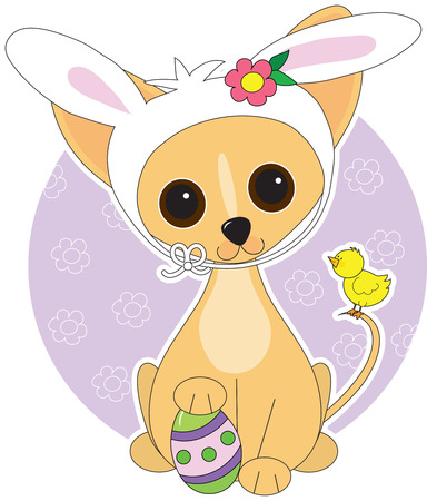 Chihuahua  dressed for Easter Vector