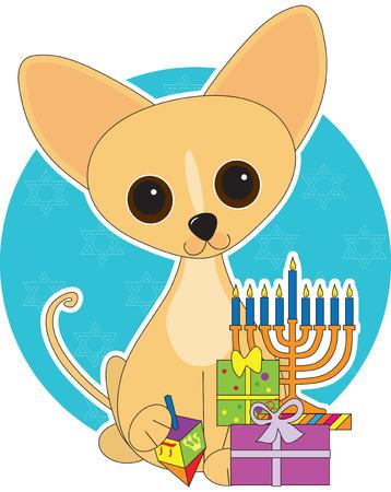Chihuahua  dressed for Hanukkah Vector
