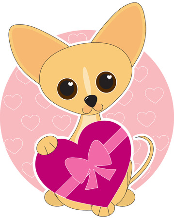 cute dog: Chihuahua  dressed for Valentines Day Illustration