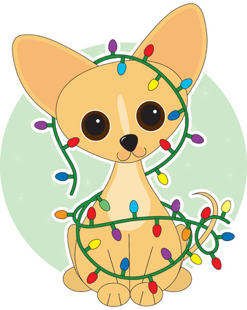 string of christmas lights: Chihuahua  dressed for Christmas with Christmas lights Illustration