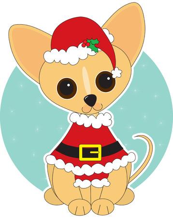 치와와 크리스마스에 산타 옷 입은
